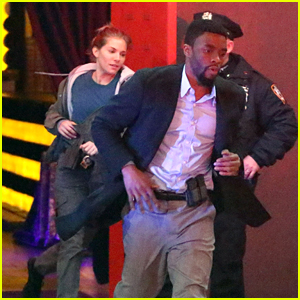 Sienna Miller & Chadwick Boseman Film an Action Sequence for '17 Bridges' in NYC!