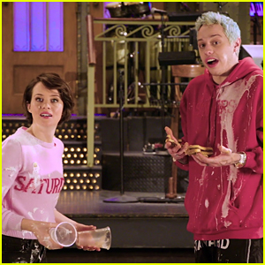 Claire Foy & Pete Davidson Have a Food Fight for 'SNL' Promo!