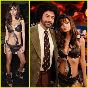 Emily Ratajkowski Is Raquel Welch from 'One Million Years B.C' for Halloween on 'Jimmy Kimmel Live'!