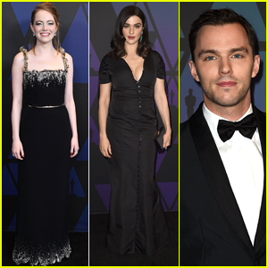 'The Favourite' Co-Stars Emma Stone, Rachel Weisz & Nicholas Hoult Attend Governors Awards 2018