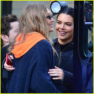 Gigi Hadid & Kendall Jenner Share a Hug Outside of Victoria's Secret Fashion Show Rehearsals