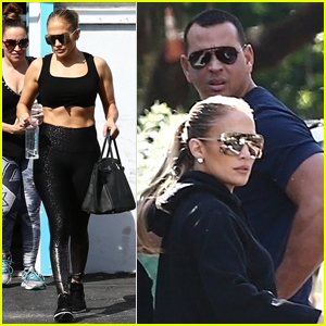 Jennifer Lopez Flashes Her Abs Leaving the Gym with Alex Rodriguez!