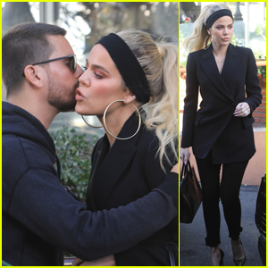 Khloe Kardashian & Scott Disick Share a Goodbye Kiss After Lunch in Sherman Oaks