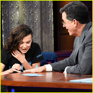Millie Bobby Brown Paints Stephen Colbert's Nails For UNICEF - Watch!