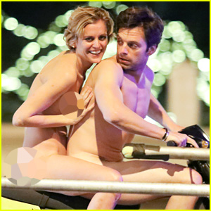 Sebastian Stan Bares Everything, Wears No Clothes for Scooter Ride On Set with Denise Gough