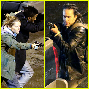 Sienna Miller, Chadwick Boseman, & Taylor Kitsch Film Intense Fight Scene on '17 Bridges' Set!
