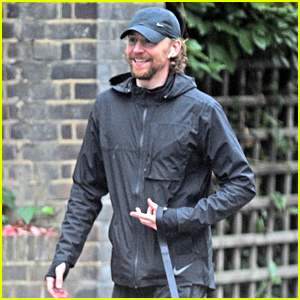 Tom Hiddleston Flashes a Big Smile While Walking His Dog