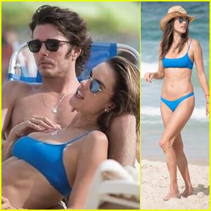 Alessandra Ambrosio Hits the Beach in a Blue Bikini With Boyfriend Nicolo Oddi & Friends!