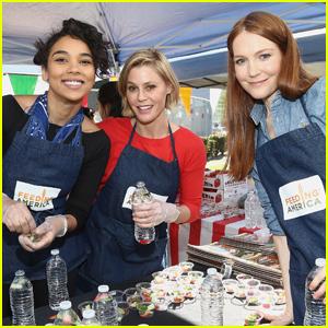 Alexandra Shipp, Julie Bowen, & Darby Stanchfield Volunteer at Feeding America Event