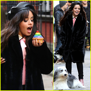 Camila Cabello Eats Cupcakes & Plays with Dogs Filming New Commerical!