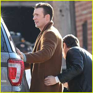 Chris Evans Gets a Pat Down in First 'Knives Out' Set Photos!
