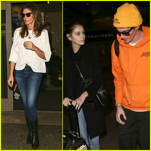 Cindy Crawford & Kids Kaia & Presley Gerber Jet Home From London!