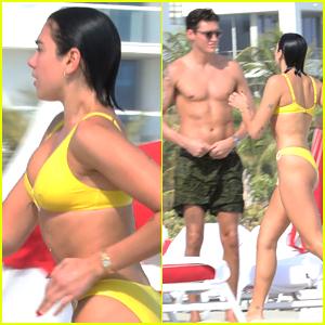 Bikini-Clad Dua Lipa Hits the Beach with Boyfriend Isaac Carew
