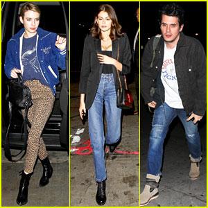 Emma Roberts & Kaia Gerber Attend John Mayer & Dave Chappelle's Show