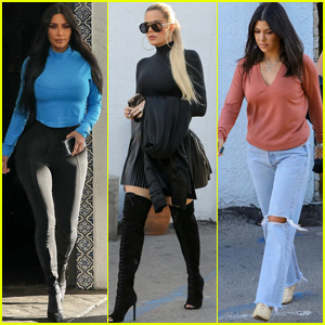 Kim, Khloe & Kourtney Kardashian Meet For Lunch While Filming 'KUWTK'
