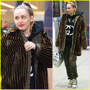 Miley Cyrus Bundles Up for Flight Home from London!