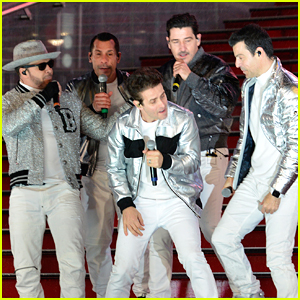 New Kids on the Block Perform on Times Square's Wet Red Steps, Miraculously Don't Slip!