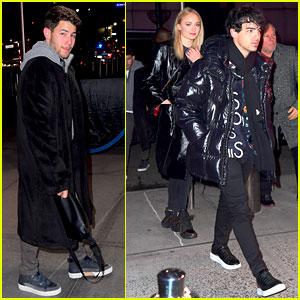 Nick Jonas Joins Joe Jonas & Sophie Turner at New York Knicks Game