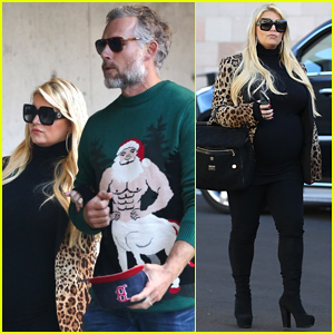 Pregnant Jessica Simpson & Husband Eric Johnson Head to Holiday Party!
