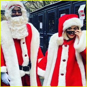 Rita Ora & Idris Elba Dress Up Like Santa For Children's Hospital Visit