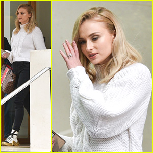 Sophie Turner Wears Cozy White Sweater While Leaving Sao Paolo Hotel