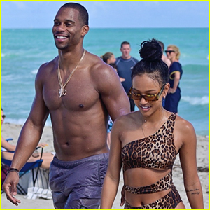 Victor Cruz & Karrueche Tran Spend New Year's Eve at the Beach