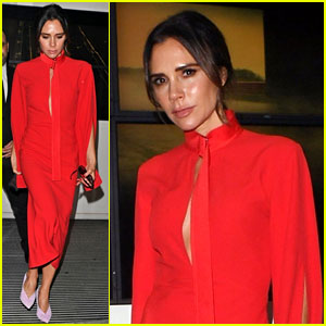 Victoria Beckham Slays in Chic Red Dress With Lilac Shoes