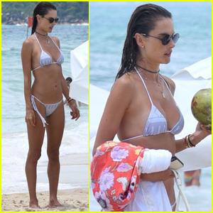 Alessandra Ambrosio Dons White Bikini for Day at the Beach!