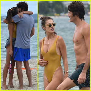 Alessandra Ambrosio & Nicolo Oddi Share Romantic Moment on the Beach in Brazil