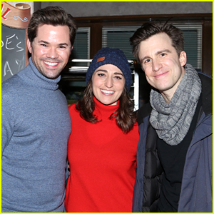 Andrew Rannells Visits Friends Sara Bareilles & Gavin Creel at 'Waitress' on Broadway!