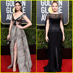 Anne Hathaway & Jessica Chastain Get Glam on the Red Carpet at Golden Globes 2019!