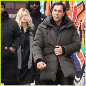 Elle Fanning & Javier Bardem Arrive on Set of 'Molly' in Brooklyn