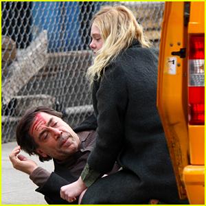 Elle Fanning Sits Beside a 'Bloody' Javier Bardem on 'Molly' Set