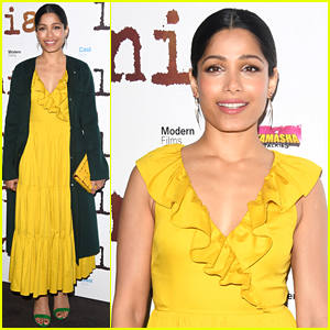 Freida Pinto Dons Bright Yellow Dress at 'Love Sonia' UK Premiere