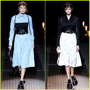 Gigi Hadid & Kaia Gerber Walk in Prada's Milan Fashion Show