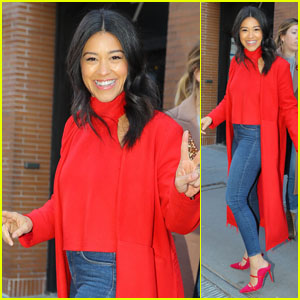 Gina Rodriguez Looks Chic in a Red Coat After Appearing on 'The View'!