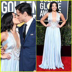 Gina Rodriguez & Fiance Joe LoCicero Share Kiss at Golden Globes 2019