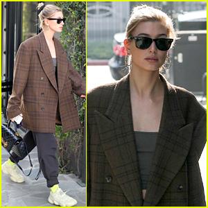 Hailey Bieber Rocks Oversized Checked Blazer for Salon Visit