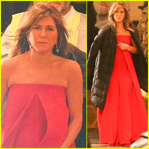 Jennifer Aniston Wears Red Gown on Set of New Apple Show!