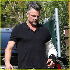 Josh Duhamel Sports Arm Brace After Elbow Surgery