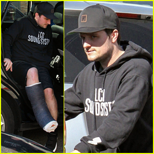 Josh Hutcherson Makes a Coffee Run on His Injured Leg