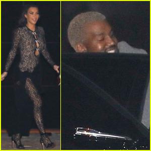 Kim Kardashian & Kanye West Arrive for John Legend's Party