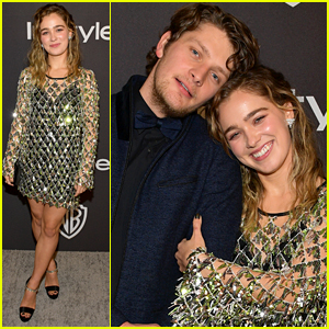 Haley Lu Richardson & Fiance Brett Dier Cozy Up For Golden Globes After Party
