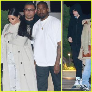 Kim Kardashian, Kanye West & Pete Davidson Head Out After Sushi Dinner for Kid Cudi's Birthday!