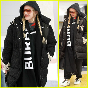 Madonna Is All Bundled Up Arriving at the Airport in Chilly New York City