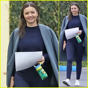 Miranda Kerr Looks Beautiful in Blue While Running Errands in Rainy LA