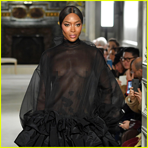 Naomi Campbell Wears Completely Sheer Gown During Valentino Fashion Show!