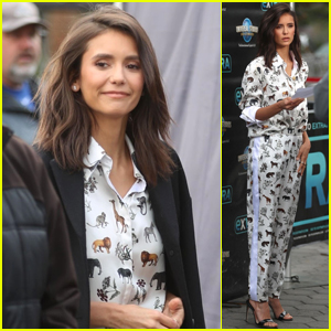 Nina Dobrev Looks Stylish on Set for an Interview at Universal Studios!