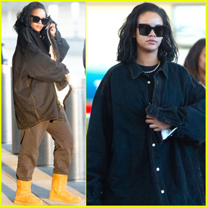 Rihanna Rocks Double Denim While Arriving in New York City