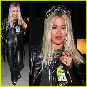Rita Ora Wears a Leather Outfit for Dinner at Sushi Restaurant